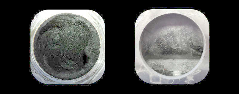 Ultra sonic cleaning of a carboned up intake manifold. Before and after.